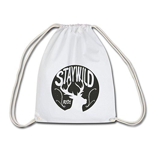 Spreadshirt Animal Planet Hirsch Silhouette Stay Wild Turnbeutel, Weiß (Wild-tier-silhouette)
