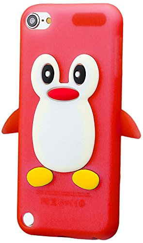 iCues Apple iPod Touch 5 / 5G |  Pinguin Silikon Case Rot | [Display Schutzfolie Inklusive]  Schutzhülle Hülle Cover Schutz Rot