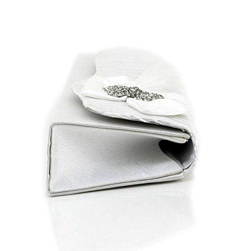 Lady Sacchetto Del Pranzo Di Seta Fogliame Borsa Delle Signore Fiore Cellulare Trousse Silver