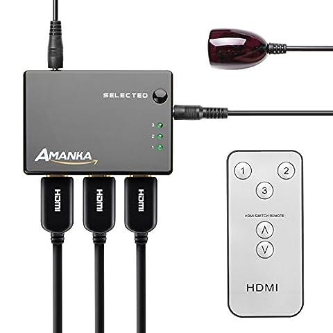Amanka 3 Port HDMI Commutateur 3 x entrées / 1 x sortie Switch HDMI incluse Télécommande IR support 3D Ready Full HD 1080p