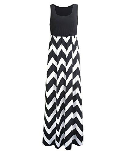 Très Chic Mailanda Sommerkleid Damen Partykleid Lang Chiffon High Waist Striped Sleeveless Beach...