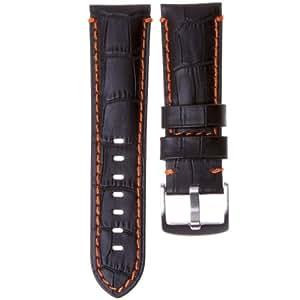 Bracelet de montre en cuir véritable, grain alligator, Noir et Orange, 24mm