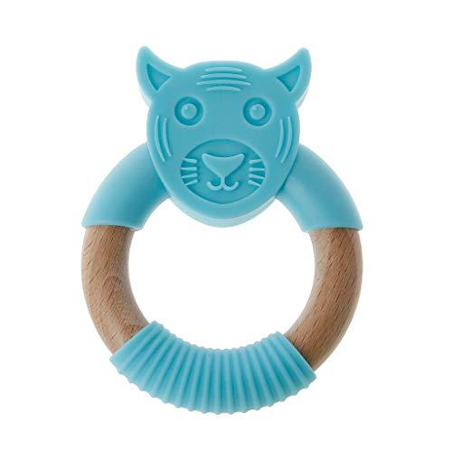 JOYKK Tier Silikon Beißring Holzring Pflegezubehör Kaubare Rassel Kreis Neugeborenen Dusche Geschenke Baby Beißringe - Blau -