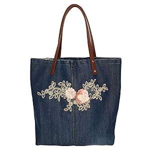 Denim & Leder Handtasche Damen, Schultertasche, Jeansstoff blau Shopper groß, Jeanstasche mit Ledergriffe, Geschenk für…
