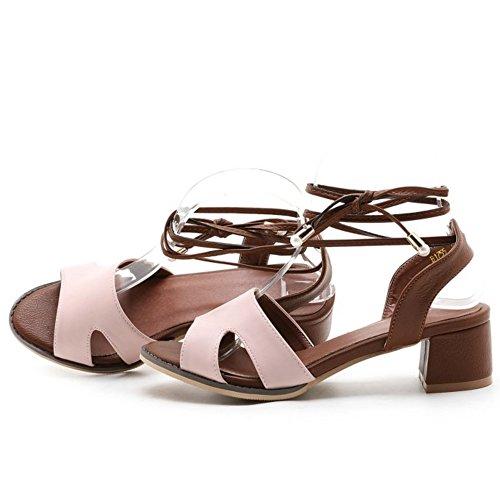 COOLCEPT Femme Mode Lacets Sandales Bout Ouvert Talon Bloc Slingback Chaussures Rose