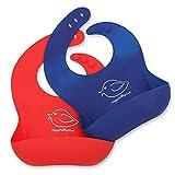 Wasserdichtes Lätzchen aus Silikon mit einfacher Reinigung! Bequeme, weiche Baby-Lätzchen, die Flecken fernhalten! Investieren Sie nach dem Essen mit Säuglingen und Kleinkindern weniger Zeit mit Saubermachen! Satz aus 2 Farben (Rot/Blau)