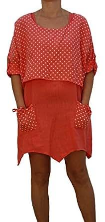 8796 Damenkleid, Tunika, Zweiteilig, Leinen, gepunktet, aprico M.