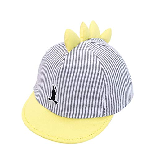 Baby-Sonnenhut Neugeborene Baumwolle Justierbarer Baseball-Kappen Sun Visiere Kinder Ball Caps Für Jungen-Dinosaurier-Entwurf (Gelb) ()
