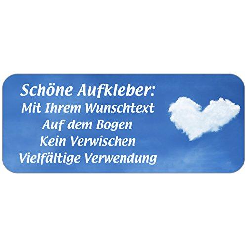 """Adress-Etiketten - Adress-Aufkleber """"Wolke 7"""" mit Wunschtext, 160 Stück, ca. 56 x 23 mm, für 1 bis 5 Zeilen"""