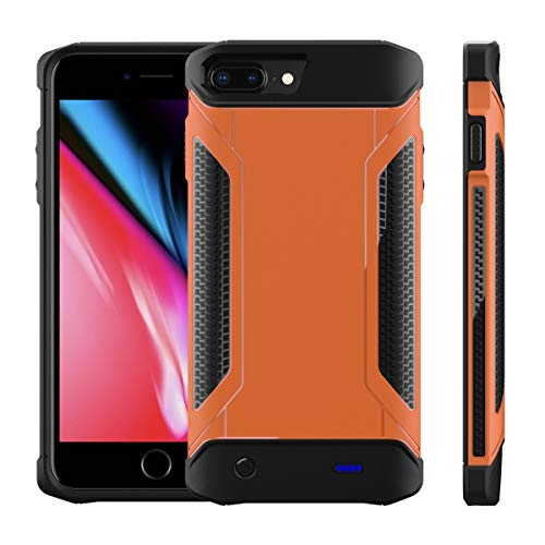 CASEWRS Tragbare Ladebatterie Zusatzakku Externe Akku Hülle Handyhülle Batterie Wiederaufladbare Schutzhülle Battery Pack Power Bank Akku Case für iPhone 6 Plus 6s Plus 7 Plus 8 Plus