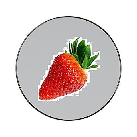 Metal round fridge magnet with Strawberry, Fruit, Delicious, Red, Sweet