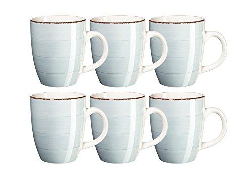 Mäser, Serie Bel Tempo, Kaffeebecher 39 cl, Keramik Geschirr im 6er-Set, in der Farbe Hellblau