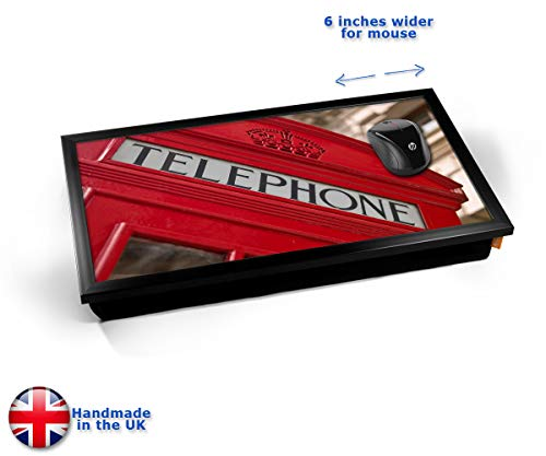 Red Telephone Box London Cushioned Bean Bag Laptop Lap Tray Desk - Built-in EMF Shield (Electro...
