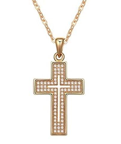 QUADIVA E! Damen Halskette Kreuzkette Kette mit Anhänger Kreuz Cross Of Faith (Farbe: champaign gold) - Micro Paved
