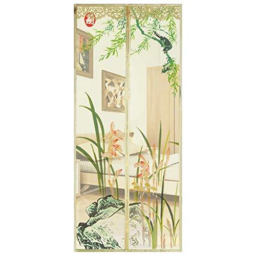 Magnétique Moustiquaire Porte Rideau, Beige Magnétique Moustiquaire Cryptage Automatique Écran Étroitement Motif D'Orchidées Pour Porte La Fenêtre (Size : 70 * 200cm)