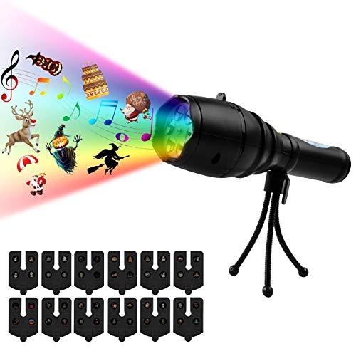 LED Projektionslampe,Atuten LED Projektor Taschenlampe mit 12 Verschiedene Motive,8 Musik Hintergrund,USB-Lade Kindertaschenlampe mit Stativ Tragbar Dekorative Lichter für Halloween Weihnachten Party
