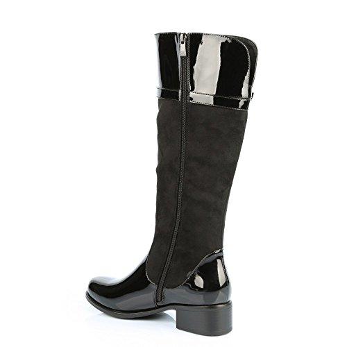 Ideal Shoes-Stiefel, Regen, bi-Material, mit Koppel Bernie Schwarz - Schwarz