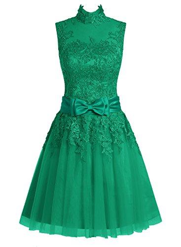 Dressystar Damen Kurz Brautkleid für Standesamt Spitze Grün