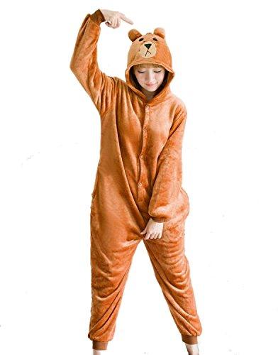 EMMARCON pigiama interno animali kigurumi ORSO BRUNO, costume da carnevale Halloween festa cosplay,caldo e morbido, cerniera sul retro.-M/altezza 160-169cm,massimo 80kg.-Orso bruno