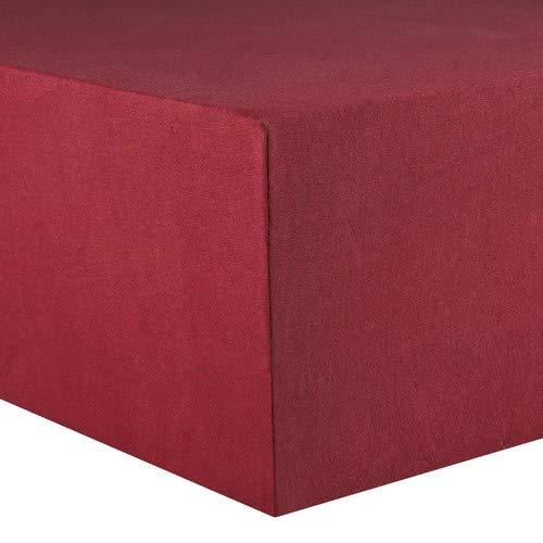 CelinaTex Lucina Spannbettlaken 180x200 - 200x200 bordeaux rot Jersey Baumwolle Spannbetttuch Doppelbett Matratzen 0002807