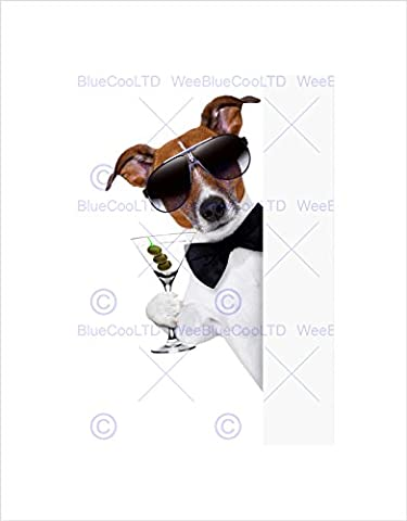 JACK RUSSELL DOG COCKTAIL MARTINI BOWTIE SHADE BLACK FRAMED ART