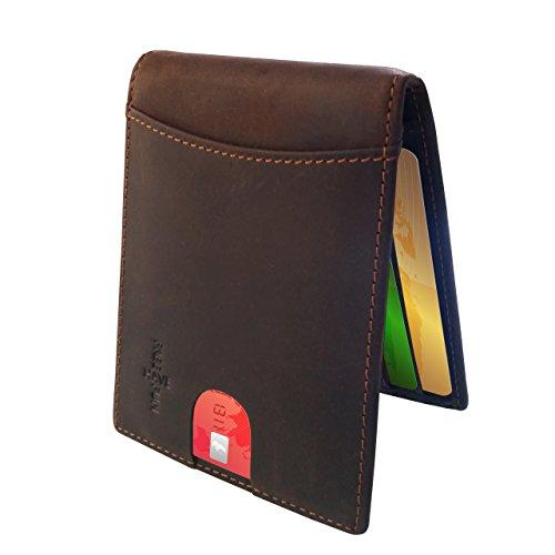 FreeHaveFun Leder RFID Schutz Geldklammer für Damen und Herren | NFC Slim Wallet Geldbörse | dünne Brieftasche | Portemonnaie m. Kreditkartenetui | Blocker Geldbeutel | Kreditkartenhalter Portmonee (Pocket Slim Wallet Zwei)