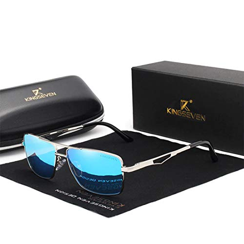 KINGSEVEN 2019 Herren Sonnenbrille, polarisiert und UV400, ultraleicht, Al-Mg, (silber/blue), Large
