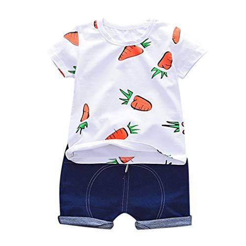 Junge Baby Kurzarm Set Karotten Print T-Shirt Top + einfarbige Shorts zweiteiliges Set (1-3 Jahre)(Weiß, 80/S)