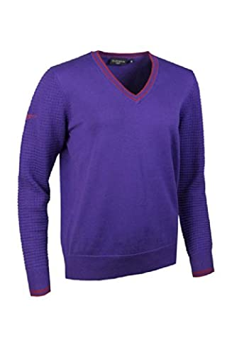 Glenmuir Ladies V Neck Tipped Sleeve Stitch Golf Sweater Violet/Vegas XS