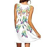 MRULIC Sommer Vintage 3D Blumendruck Bohe Kurze Mini Kleid Party Kleider(B-Weiß,EU-44/CN-2XL)