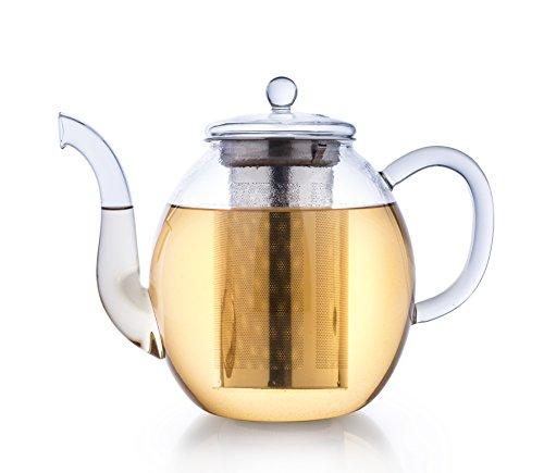 Creano Théière de verre 1.5l, infuseur de thé 3 pièces avec tamis intégré en Inox et couvercle en verre, idéal pour la préparation de thés en vrac, ne goutte pas, tout en un