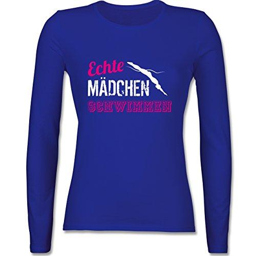 Schwimmen Shirt Mädchen Langarm (Shirtracer Wassersport - Echte Mädchen Schwimmen - XS - Royalblau - BCTW013 - Damen Langarmshirt)