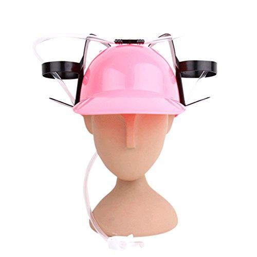 elegantstunning Donne Uomini a Mani libere Colore Solido Bere Cappello plastica Paglia Lazy Party Birra Soda cap Casco Rosa