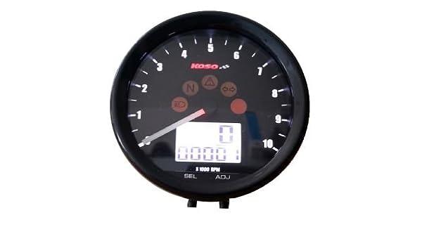 Compteur de vitesse KOSO TNT d64 custom style Multimeter Noir-Tachymètre 10000 tr//min
