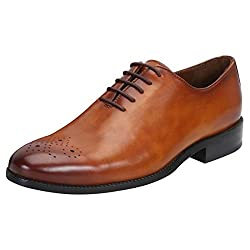 BRUNE TAN LEATHER HAND RUGGED WHOLE CUT/ONE-PIECE OXFORD SHOE WITH MEDALLION TOE FOR MEN