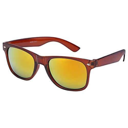 Ciffre Nerdbrille Sonnenbrille Stil Brille Pilotenbrille Vintage Look Braun Feuer Verspiegelt