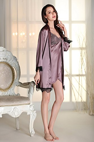 Misslight Damen Satin Negligee Rückenfrei V-Ausschnitt Nachtwäsche Nachtkleid Babydoll Nachthemd mit Lingerie Mantel Spitze Träger kleid mit Spitze Dekor Purple