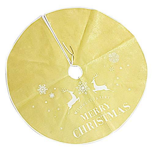 PETSOLA 90 cm Schneeflocke Frohe Weihnachten Baum Rock Basis Bodenmatte Abdeckung Weihnachtsdekor - Gold -