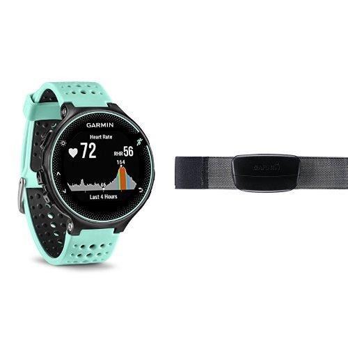 Garmin Forerunner 235 GPS Sportwatch con Sensore Cardio al Polso e Funzioni Smart, Nero/Blu Ghiaccio + Fascia Cardio Premium