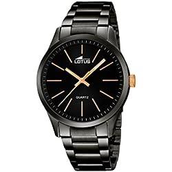 Lotus 18162/2 - Reloj de pulsera hombre, Acero inoxidable, color Negro