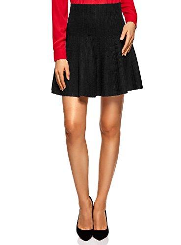 oodji Ultra Mujer Falda Acampanada de Punto Texturizado, Negro, ES 46 / XXL