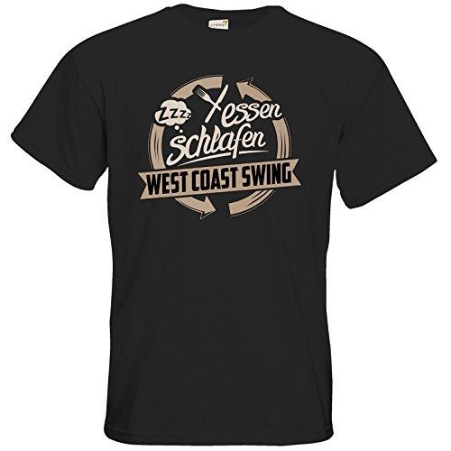 getshirts - RAHMENLOS® Geschenke - T-Shirt - Essen - Schlafen - West Coast Swing tanzen - black M -