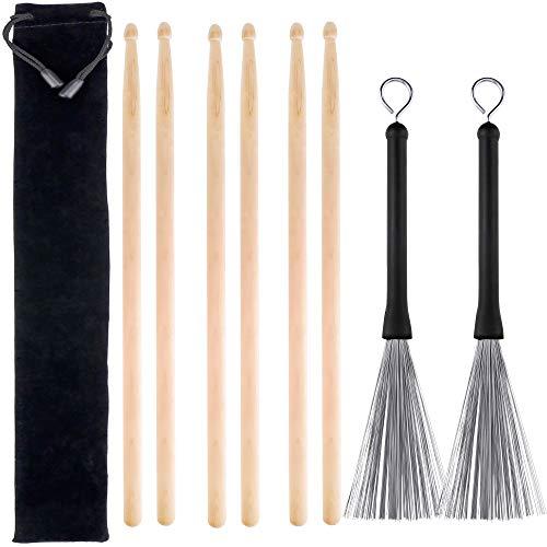 3Paar 5A Hard Maple Holz Drum Sticks und 1Paar Roll-Drum Draht Pinsel mit einer Aufbewahrungstasche - Ahorn Roll