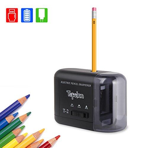 Tepoinn Elektrischer Anspitzer für Kinder Studenten Lehrer Ingenieure Designer Kompakt Automatischer Anspitzer Stromversorgung über USB-Kabel Adapter Batterien, Hohe Geschwindigkeit und Einfach zu bedienen, Elektrischer Bleistiftspitzer kann mehr als 3000 Mal verwenden
