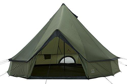 Grand Canyon Indiana - Rund-/ Pyramidenzelt, Tipi, 8 Personen, für Gruppen, Camping, Outdoor, Glamping, olive/schwarz, Ø 400 cm, 602006
