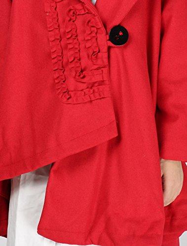 MatchLife Damen Hochgeschlossenes Button Down Mantel Style2-Rot