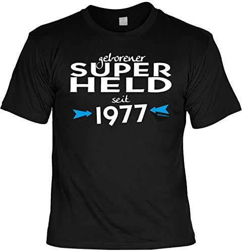 Cooles T-Shirt zum 40. Geburtstag geborener Super Held seit 1977 Geschenk 40 Geburtstag 40 Jahre Geburtstagsgeschenk 40-jähriger Schwarz