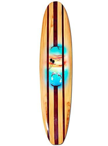 Seestern Sportswear Deko Holz Longboard Surfboard 50cm lang Airbrush Design Surfen Wellenreiten Surf /1657