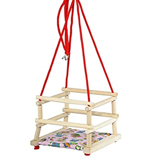 Tupiko HDP Wooden Swing with Bolster, Multi-Color