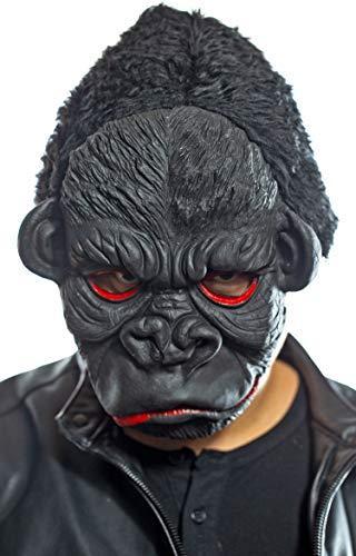 Nerd Clear King Kong Maske | Killer Affen Maske | Schwarze Latex Maske | Gorilla Maske Halloween Karneval Motto Party (Kostüm Anführer Halloween)
